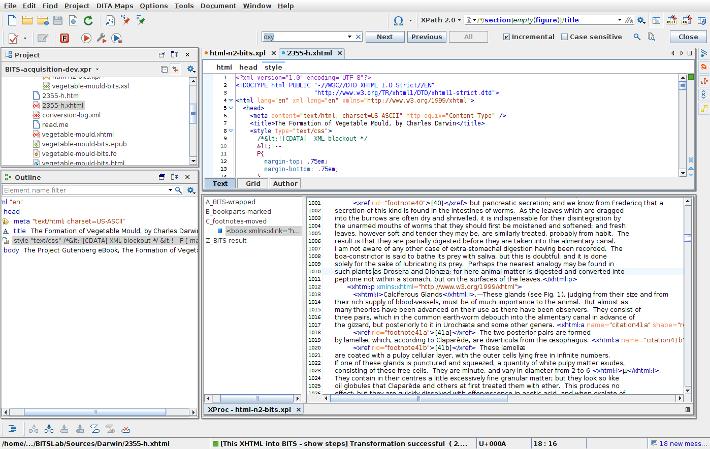 Uphill to XML with XSLT, XProc … and HTML
